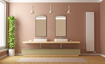 Contemporary Bathroom with two washbasins and heater-3D Rendering