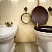 Interior of luxury vintage bathroom in resort apartment
