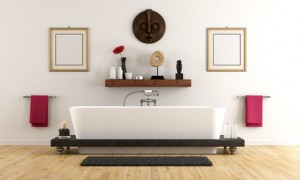 Elegant bathroom with bathtub and ethnic decor - 3D Rendering
