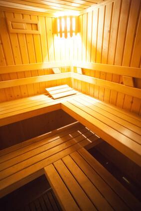 Classic wooden wet sauna beds