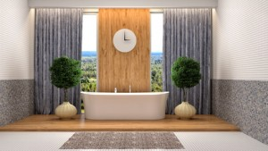 Bathroom with shower and bath. 3d illustration