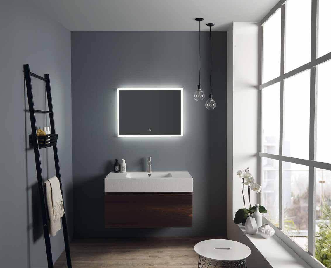Bagno con lavabo e cassetto sospeso in rovere