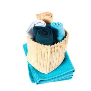 Lavette blu azzurre e beige per il bagno